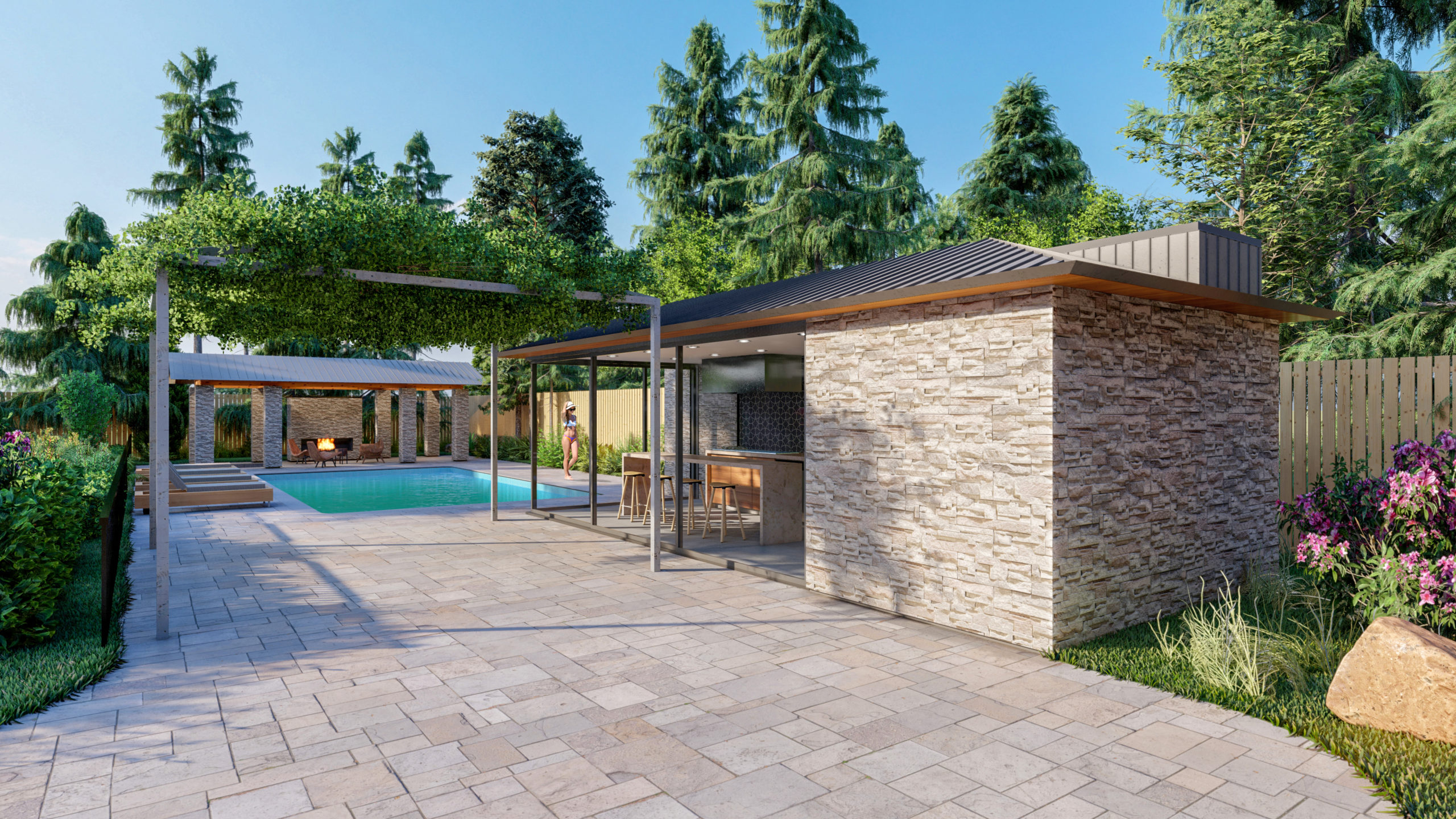 Pool House - Exterior Perspective